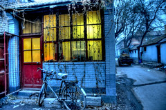 Hutong walk (ShanLuPhoto) Tags: china blue bike lights beijing hutong houhai hdr bicyle  loolooimage