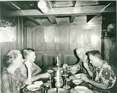 Marian Fairchild, Hugo Curran, David Fairchild, and Ted Kilkenny dining aboard the Cheng Ho