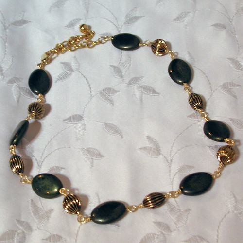 Antiqued Gold Glass Bead and Brass Necklace