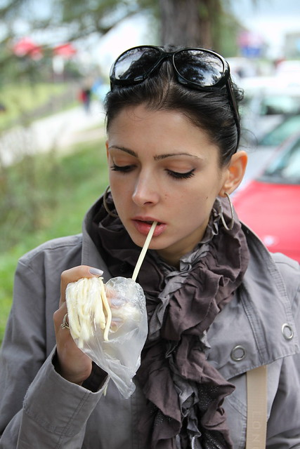 Oxana eating cheese