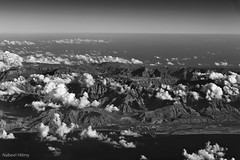 Mountains of Arabia (nhilmy) Tags: uk trip travel sky blackandwhite bw mountain nikon desert aerial explore saudi arabia nikkor coulds explored d700 2470mmf28g