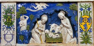 Andrea della Robbia, Incoronazione della Vergine, detail with Nativity. Siena, Osservanza