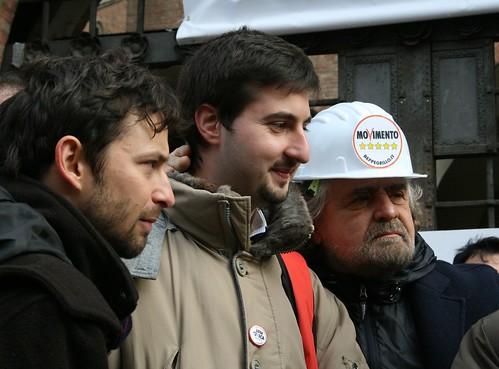Giovanni Favia, Luca Pecchini e Beppe Grillo