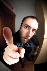 Autoritratto (Daniele Melato - www.danielemelato.com) Tags: portrait selfportrait face canon eos big flash fisheye 7d falcon stupid autoritratto 8mm ritratto viso faccia stupido espressioni strobist lampisti defornato
