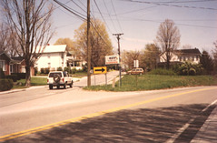 Highway 20 in Athens, WV, 1992 (Andrew T's Archives) Tags: road street sign wv westvirginia 1992 athenswv