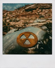 non-radioactive (t knouff) Tags: sky manipulated sx70 vent utah sandstone mine symbol arches manipulation copper moab radioactive redrock archesnationalpark atomic coppermine timezero