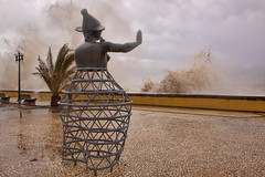 Madeira: The Weather Guardian (Mr.Enjoy) Tags: sea mountain storm portugal scale water weather yellow rock wall fun mar europe waves wind crash bad stormy location clash spray stop enjoy huge environment madeira tempo mau warming ondas global funchal humid calada spectacle runoff tempestade satue madeiraisland gurdian bater