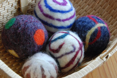 five felted balls