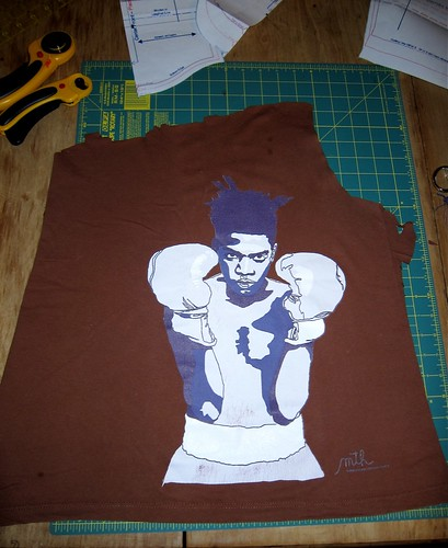 Basquiat Onesie--cutting up T-shirt