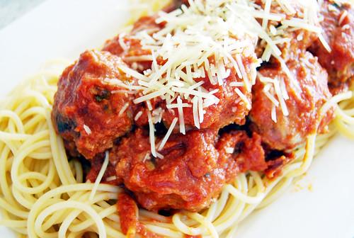 Spaghetti with Mozzarella Stuffed Meatballs by Rachael Ray