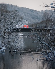 the dangers of winter (c-h-l) Tags: street bridge schnee trees winter red orange snow cold ice water colors car river germany deutschland essen nikon wasser frost forrest strasse january ducks ambulance nrw tageslicht emergency enten brcke fluss wald bume ruhr ruhrgebiet januar chl ruhrarea reflektionen spiegelungen d90 krankenwagen essenwerden nikond90 cityhumanlife