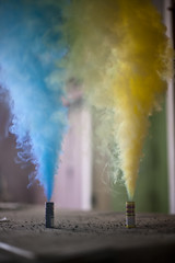 Smoke Bombs. (The Vision Beautiful) Tags: blue house green abandoned yellow barn purple fireworks smoke bombs firecrackers flowermound pillarsofsmoke thankyoukristinforlettingmeborrowyourcameraforthisshot