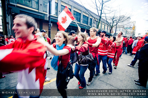 Fans celebrate on Robson Street after Canada wins Men's Hockey Olympic Gold
