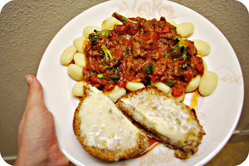 "Potato Gnocchi with ""meat"" sauce"