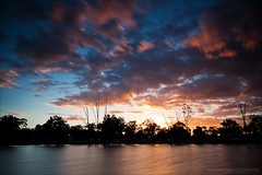 The best ten seconds of your life. (J.P.Robertson) Tags: sunset red sky orange sun reflection wet water set clouds smooth australia valley damn epic silky gatton lockyer