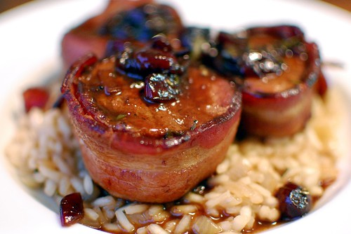 Pink Parsley: Bacon Wrapped Pork Medallions with Cherry Sauce