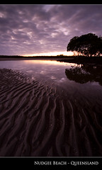 Sunrise over Nudgee Beach (Stuart Addelsee) Tags: ocean morning light sky cloud seascape color colour reflection beach nature water beautiful skyline contrast photoshop sunrise canon dark landscape geotagged photography eos coast photo still day colours view sigma australia wideangle brisbane explore mangrove 7d qld queensland 1020mm lightroom waterscape 10mm nudgee