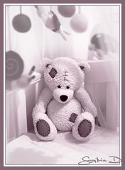 cot tenant (lefthandedhero) Tags: bear baby brown white cute mobile toy waiting sitting teddy room blanket decor cot
