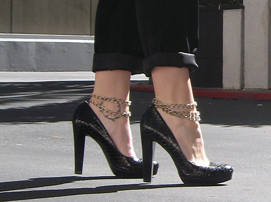 snakeskin heels with ankle chains -3 -2
