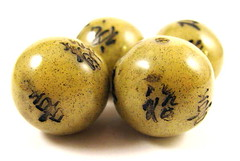 25mm Faux Olive Jade Round Beads 1a