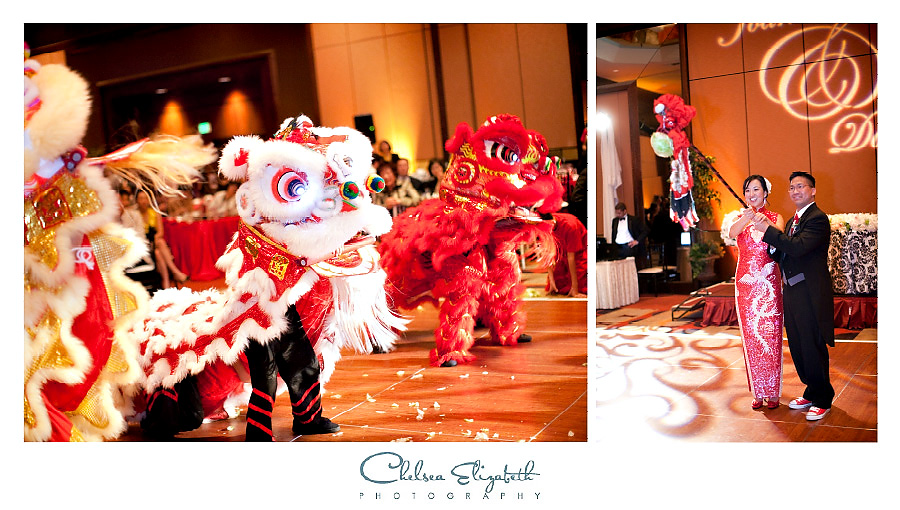Chinese Lion Dancers at Universal City Hilton wedding reception