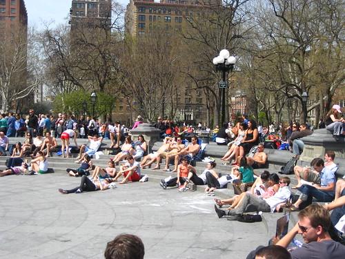 Sunbathing at Washington Square Park