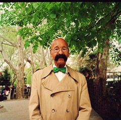 Great New York Moustaches, Number 1 (deepstoat) Tags: street nyc portrait colour 120 film mediumformat bald bowtie moustache caterpillar huge roll 220 expiredfilm tash yashicamat124g kodakportra autaut