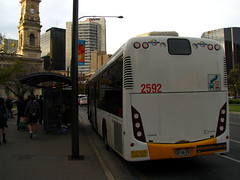 Scania CB80 2592, Victoria Square (baytram366) Tags: city blue trees winter red man blur bus public glass buses leaves yellow speed buildings tickets mercedes chinatown afternoon towers transport tram peak places flags busy stop transit adelaide blinds rolls cbd passenger panning technique streetscape kingwilliamstreet scania centralmarket victoriasquare terminus northterrace southlink sl200 adelaidemetro desto transadelaide flexity torrenstransit sl202 statetransportauthority citidis