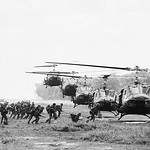Vietnam War 1972 - Line of Helicopters of the U.S. First Air Cavalry Division land in formation at Lai Khe thumbnail