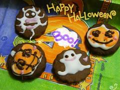 Halloween dietary cookie ~ For desktop (borometz) Tags: food halloween pumpkin spider cookie ghost 猫 ケーキ ネコ カボチャ クモ lowcal healty ハロウィン dietary ヘルシー オバケ ローカロリー
