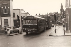 King Alfred bus, WCG 104, 1959 Leyland PSCU1/1 - Winchester November 1972 (mikeyashworth) Tags: hampshire winchester 1972 1959 leyland leylandtigercub leylandbus kingalfredmotorservices wcg104 kingalfredbus 11november1972 leylandpscu11 weymannbodywork mikeashworthcollection
