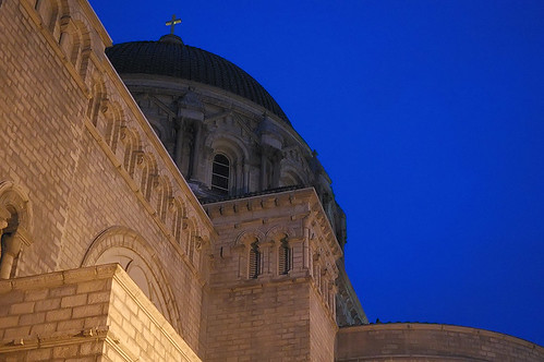 Cathedral Basilica of Saint Louis, in Saint Louis, Missouri, USA - detail at night