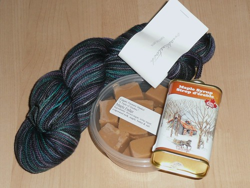 Winnings - madelinetosh toshsock in peacock and maple stuffs