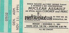 11/11/91 Nuclear Assault/Coroner/Panic @ Minneapolis, MN (Ticket)