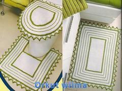 jogo p/banheiro branco e verde (Wilma croch) Tags: de para em jogo banheiro tapetes croch barbante