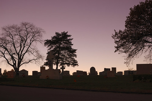 Resurrection Cemetery, in Shrewsbury, Missouri, USA - dusk