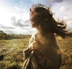 fly away.. (.bella.) Tags: sky selfportrait girl field sunrise open wind space 213 cardigan 365days