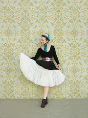 More Halloween (Elsita (Elsa Mora)) Tags: red portrait white inspiration selfportrait black color art halloween smile hat fashion socks photoshop self vintage hair happy costume belt outfit nice shoes doll artist personal top sandals background inspired remix seed style skirt polka dot blouse hidden blogged wardrobe elsa mora selfexpression crinoline elsita