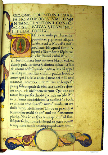 Illuminated initial and border decoration in Polentonus, Sicco: Vita S. Antonii de Padua. Sp Coll Hunterian By.3.12.