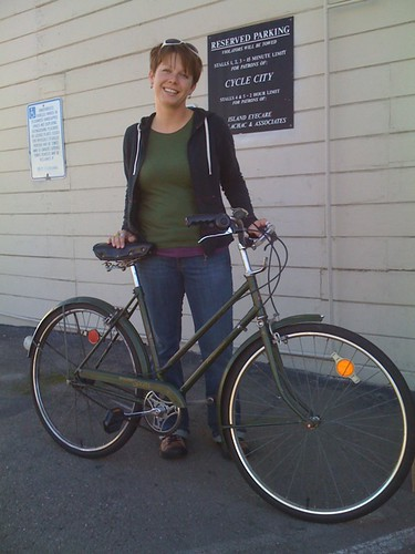 The fetching Ms. A and her Raleigh 3-speed
