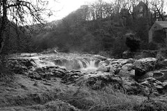 Icy falls Cenarth BW 7 (Ian Rogers666) Tags: cold ice wales river frozen waterfall whitewater falls rapids icicles cenarth