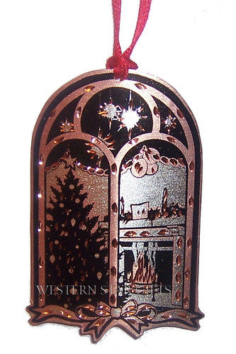 Victorian Christmas Window Scene Copper Christmas Tree Decoration Ornament