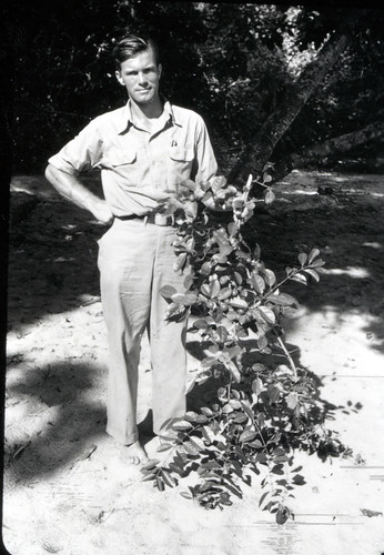 Hugo Curran holding an unknown vine