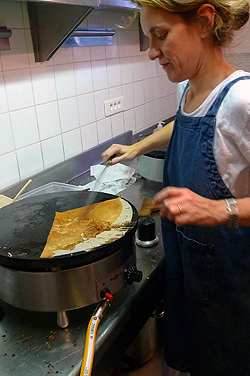 frying crepes
