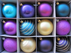 Christmas baubles (Katie-Rose) Tags: christmas decorations gold shiny purple box turquoise round glittery baubles explored bej fbdg
