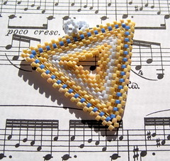Champagne Party triangle pendant (randomcreative) Tags: triangle champagne jewelry periwinkle peyote etsy elegant simple pendant lightblue beadweaving beadwoven offloom randomcreative beadedloop