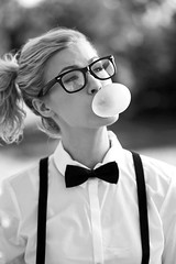 Stephanie (Corey Bennett) Tags: portrait woman white black cute nerd girl beautiful beauty fashion female gum glasses model geek style blow management blonde bubble stephanie ponytail dork bubblegum suspenders option nerdy leppert