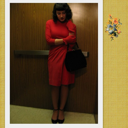red dress in the elevator