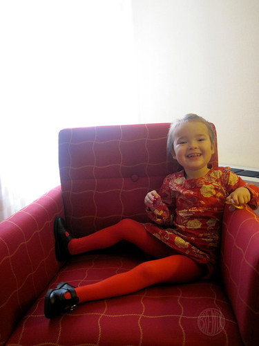 in red tights like Mommy
