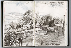 Sedburgh Trip: country lane (skyeshell) Tags: landscape countryside sketch drawing lakedistrict cumbria countrylane windingroad farmgate sedburgh tonalstudy sketchbookjournal drawingonlocation pleinairsketch